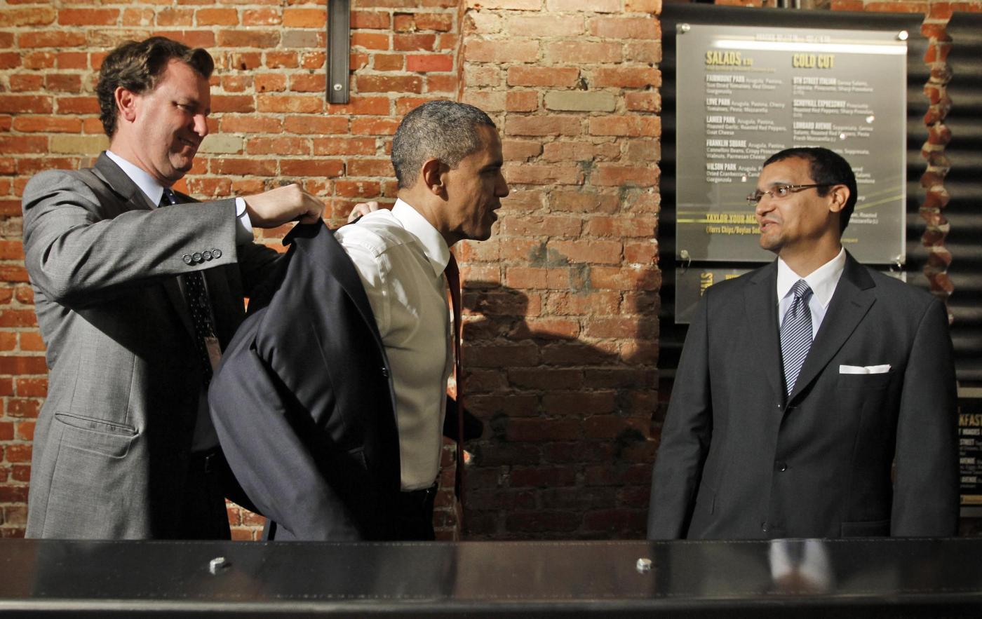 Barack Obama in paninoteca a Washington 01