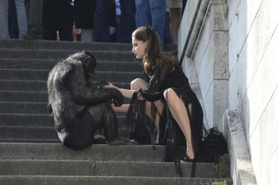 Laetitia Casta shooting con uno scimpanze04