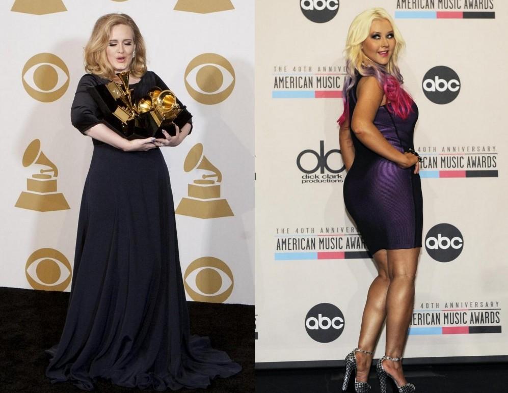 Adele e Christina Aguilera curve