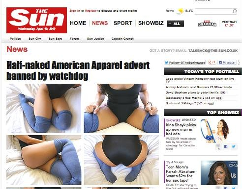 Pubblicità American Apparel sfondo sessuale