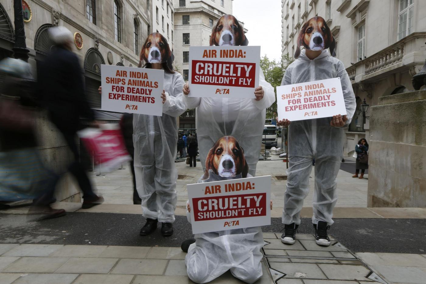 Proteste di PETA contro Air India a Londra02