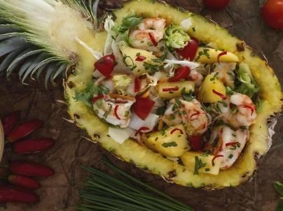 Spiedini Gamberi e Ananas Insalata di Gamberi e Ananas