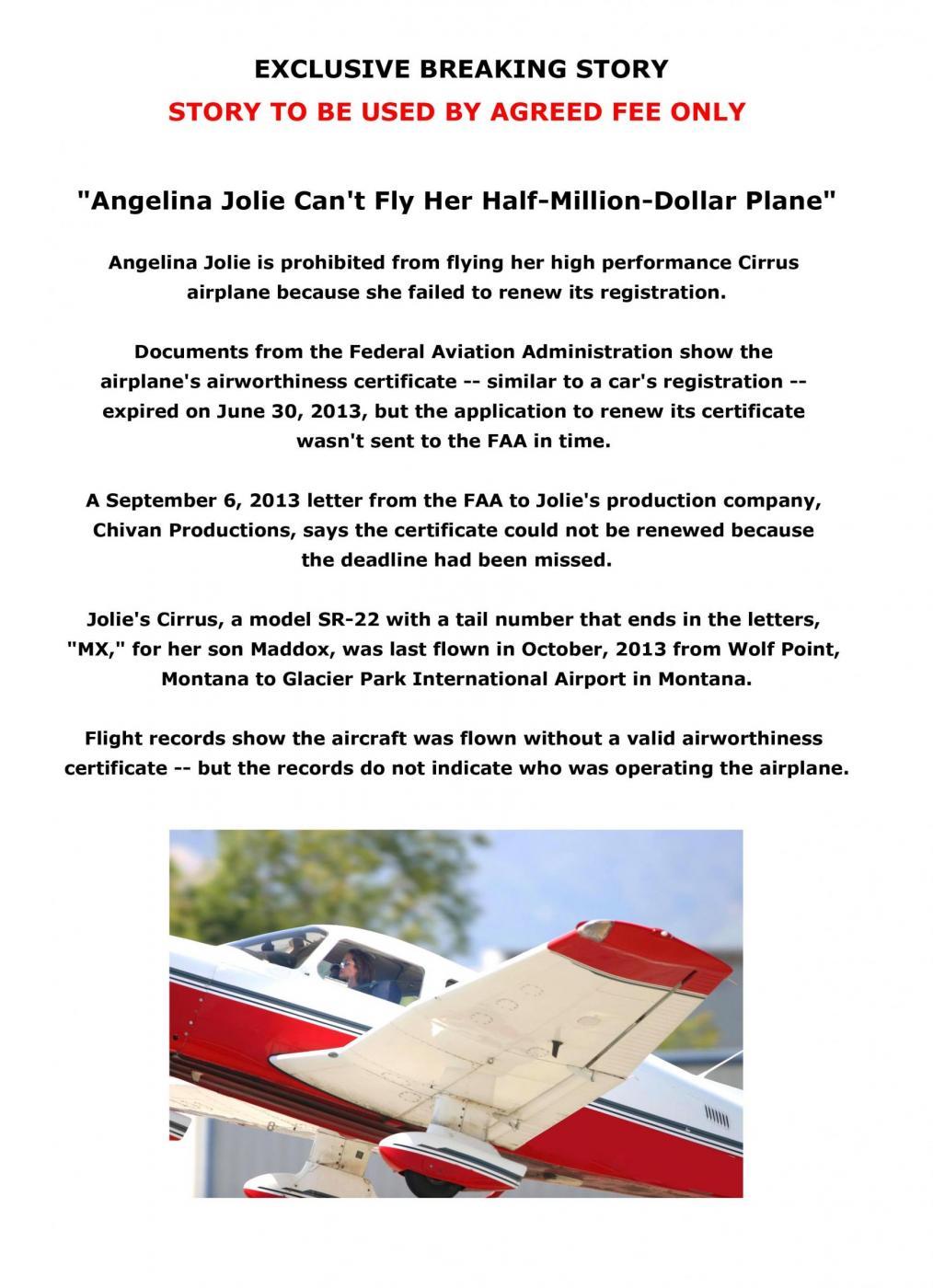 Angelina Jolie, licenza di volo revocata. Ma lei vola lo stesso 05