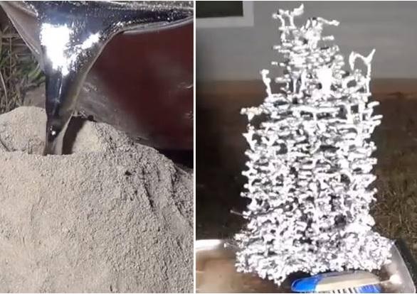 Artista crea scultura-formicaio con alluminio fuso