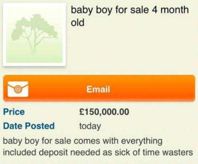 Mette in vendita figlio di 4 mesi su internet