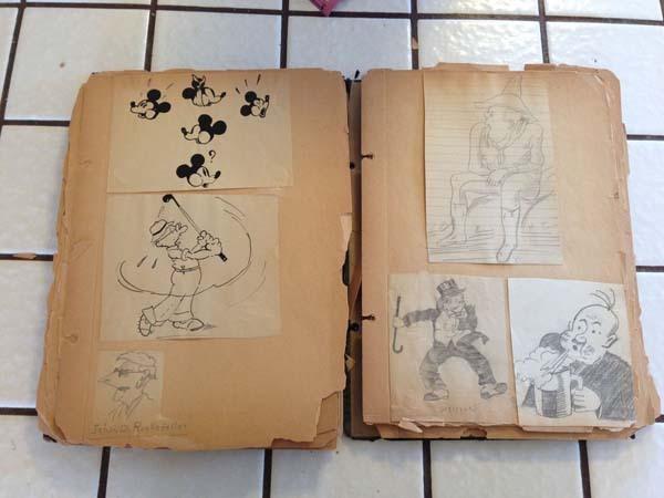 Bisnonno era disegnatore Disney, trova diario con disegni in soffitta 01