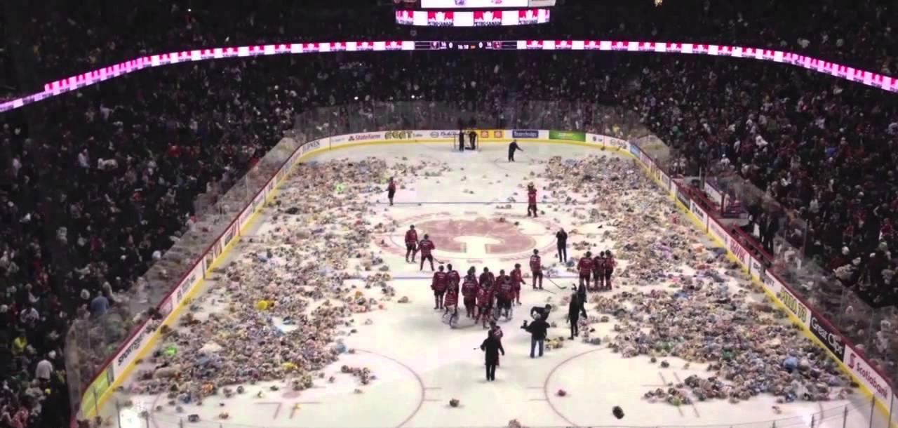 """Canada, 26000 orsacchiotti in campo: è il """"Teddy Bear Toss"""""""