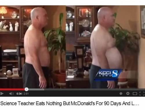 John Cisna: perde 17 chili mangiando 3 mesi da Mc Donald's