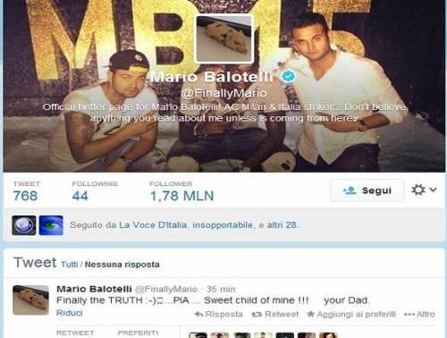 Mario Balotelli è il padre di Pia: un tweet svela la verità