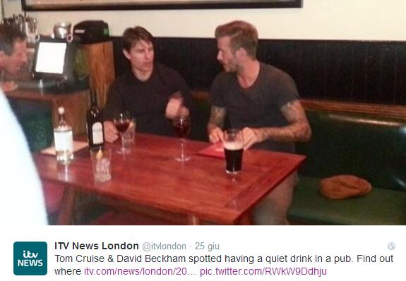 Tom Cruise e David Beckham, due amici al pub