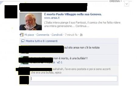 """""""Paolo Villaggio è morto"""": bufala virale su Facebook"""
