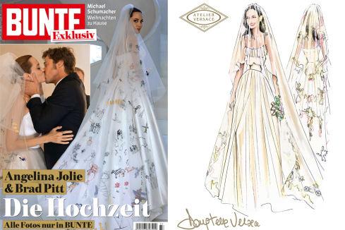 Angelina Jolie e Brad Pitt: abito di Versace, velo disegnato dai figli 005