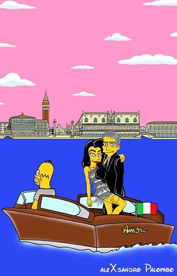 Amal Alamuddin e George Clooney: i neo sposi versione Simpson (FOTO)
