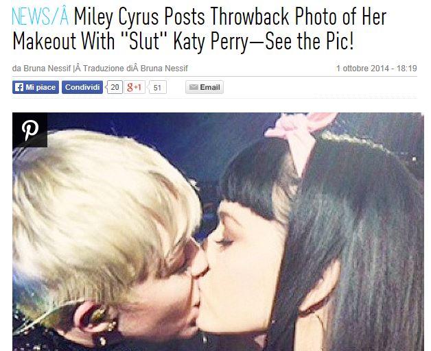 Miley Cyrus: bacio saffico con Katy Perry su Instagram (FOTO)
