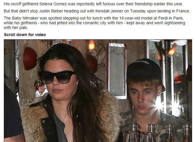 Justin Bieber a cena con Kendall Jenner. Dove ha lasciato la sua Selena?