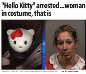 Usa, guidava ubriaca e vestita da Hello Kitty, arrestata