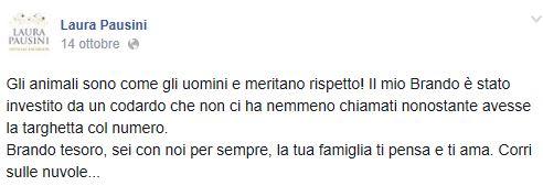 """Laura Pausini disperata, morto il suo cane Brando: """"Investito da un codardo"""""""