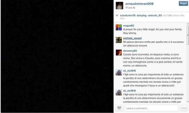 Claudia Galanti, morta figlia: il dolore di papà Arnaud su Instagram