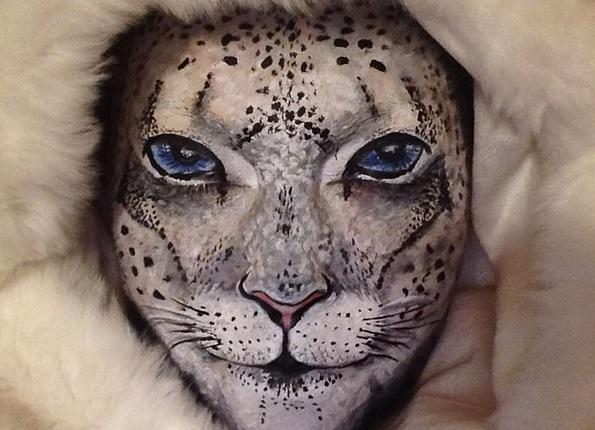 La magia del make-up di Maria Malone-Guerbaa: uno zoo sul volto
