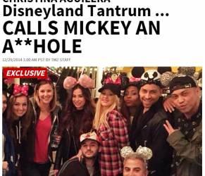"""Christina Aguilera litiga con Topolino il giorno del compleanno: """"Sei uno stronzo"""""""