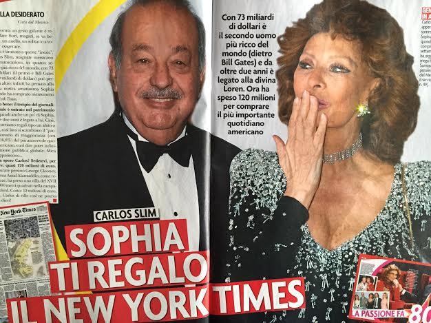 Sophia Loren al fianco di Carlos Slim: secondo uomo più ricco della terra