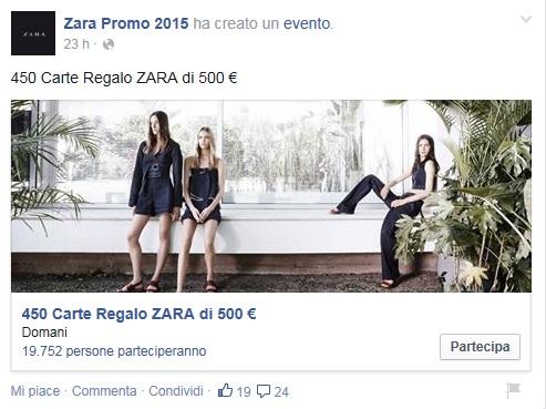 Zara, 500 euro con carta regalo: la bufala su Facebook