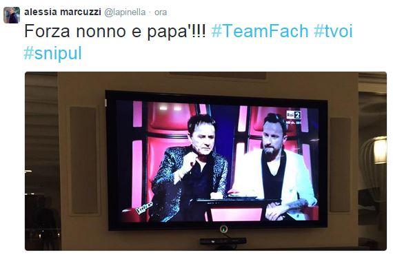 """The Voice, Alessia Marcuzzi ai Facchinetti: """"Forza nonno e papà"""""""