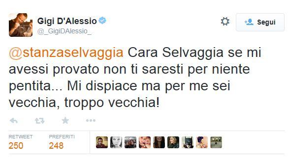 """Sanremo, Gigi D'Alessio a Selvaggia Lucarelli: """"Sei vecchia per me"""""""