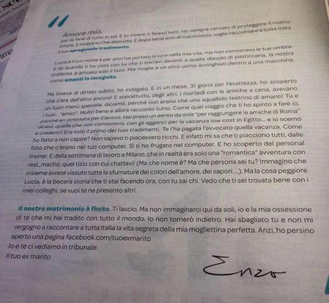 """Lettera del marito tradito al Corriere: """"Amore...ti faresti tutti"""""""