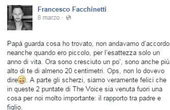 Francesco Facchinetti a 1 anno, foto-dedica al padre Roby 3
