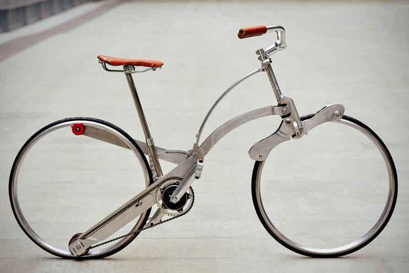 Bicicletta senza raggi che diventa uno zaino VIDEO