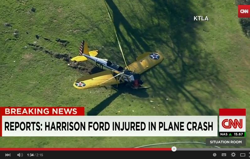 Harrison Ford precipita con il suo aereo: ferito. VIDEO Youtube