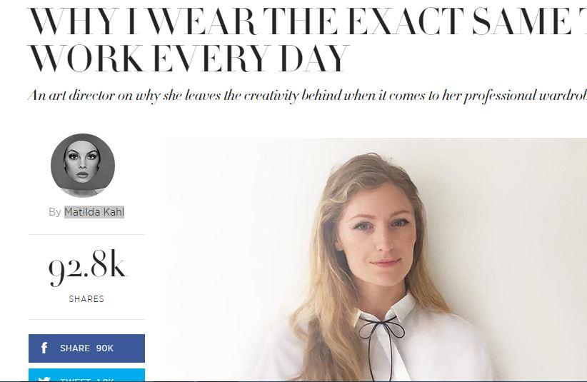 Indossa gli stessi vestiti da 3 anni: la scelta di Matilda Kahl