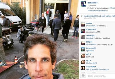 Ben Stiller a Cinecittà: scatta il primo selfie FOTO