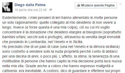 """Diego dalla Palma: """"Voglio programmare la mia morte...Chiamatelo pure suicidio"""""""