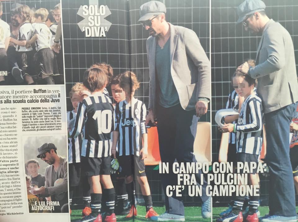 Gigi Buffon alla scuola calcio della Juve. La foto su Diva e Donna