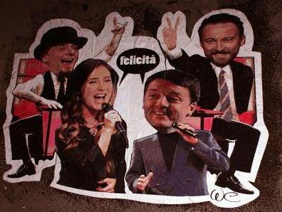 Matteo Renzi e Maria Elena Boschi versione cantanti. Il graffito a Roma FOTO