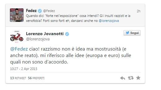"""Jovanotti-Fedez-Salvini rissa a 3 su Twitter. """"Forte esposizione"""", """"Razzismo?"""""""