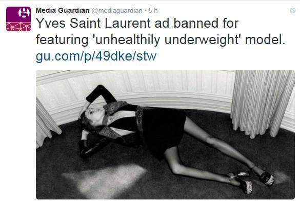 Modella-scheletro per Saint Laurent, pubblicità bandita in Gran Bretagna