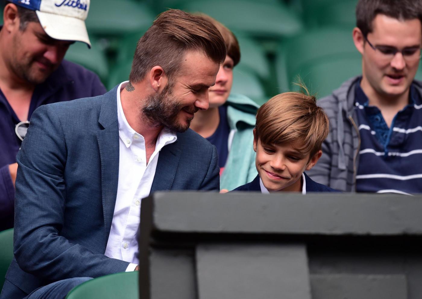 David Beckham papà ideale: a Wimbledon con il figlio Romeo2