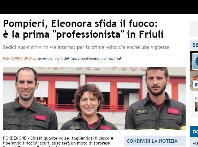 Pompieri Friuli, Eleonora Falaschi prima donna professionista