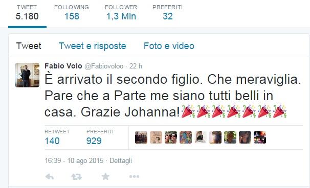 """Fabio Volo di nuovo papà: """"In famiglia tutti belli... tranne me"""""""