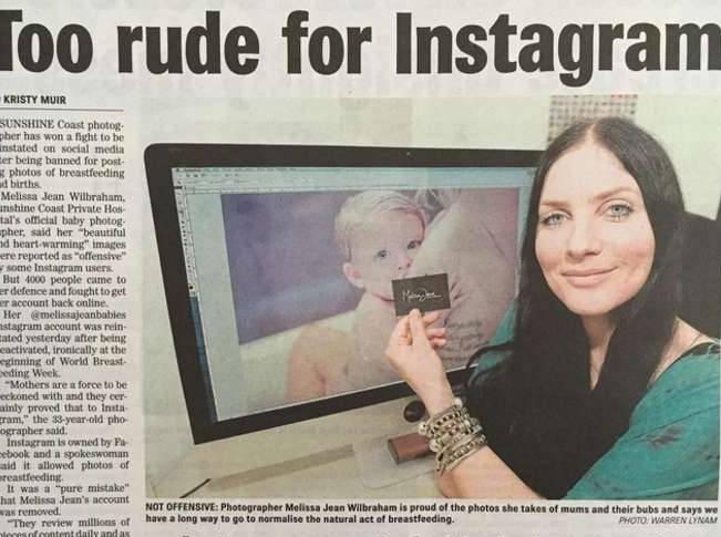 Melissa Jean, fotografa che immortala mamme che allattano bannata da Instagram