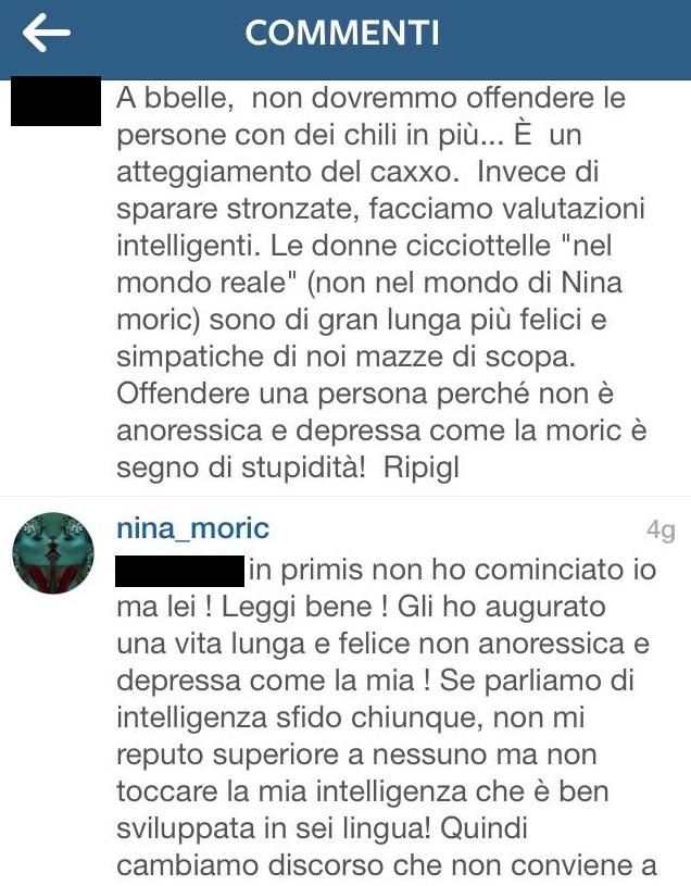 """Nina Moric insulta fan Instagram: """"Culone da pachiderma"""" FOTO"""