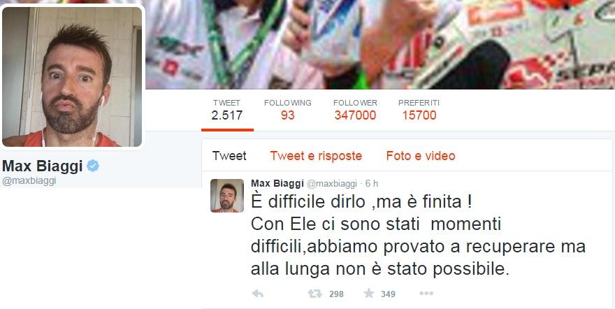 Max Biaggi su Twitter Con Eleonora Pedron è finita