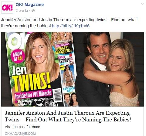 """Jennifer Aniston incinta di due gemelle: la rivelazione di """"OK!"""""""