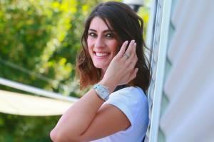 Elisa Isoardi: salopette e t-shirt per photocall Rai FOTO