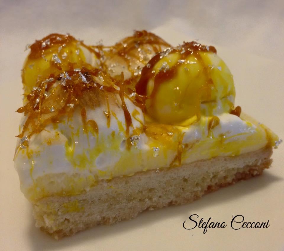 Torta Meringata al Limone con sfere di Panna Cotta