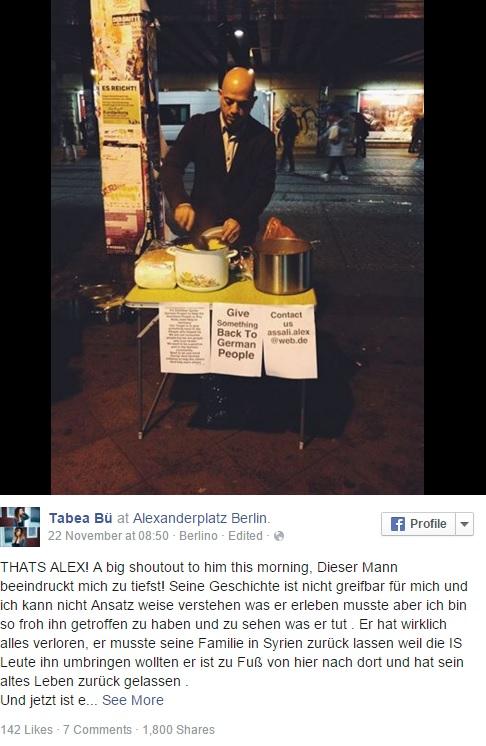 Profugo siriano ringrazia Germania distribuendo cibo a senzatetto