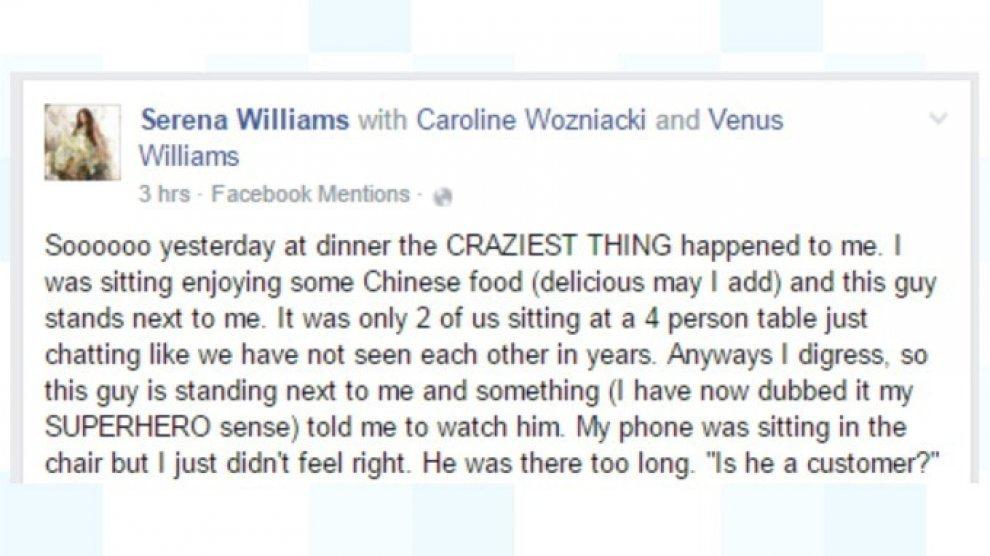 Serena Williams sventa rapina: su Fb FOTO con maglia supereroe
